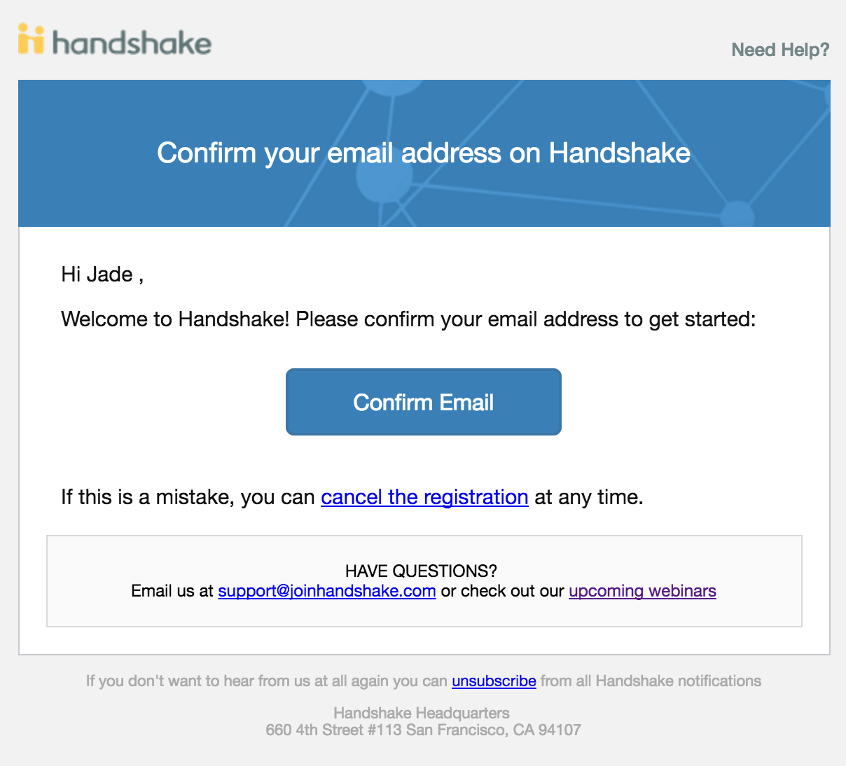 Handshake Confirm email screenshot