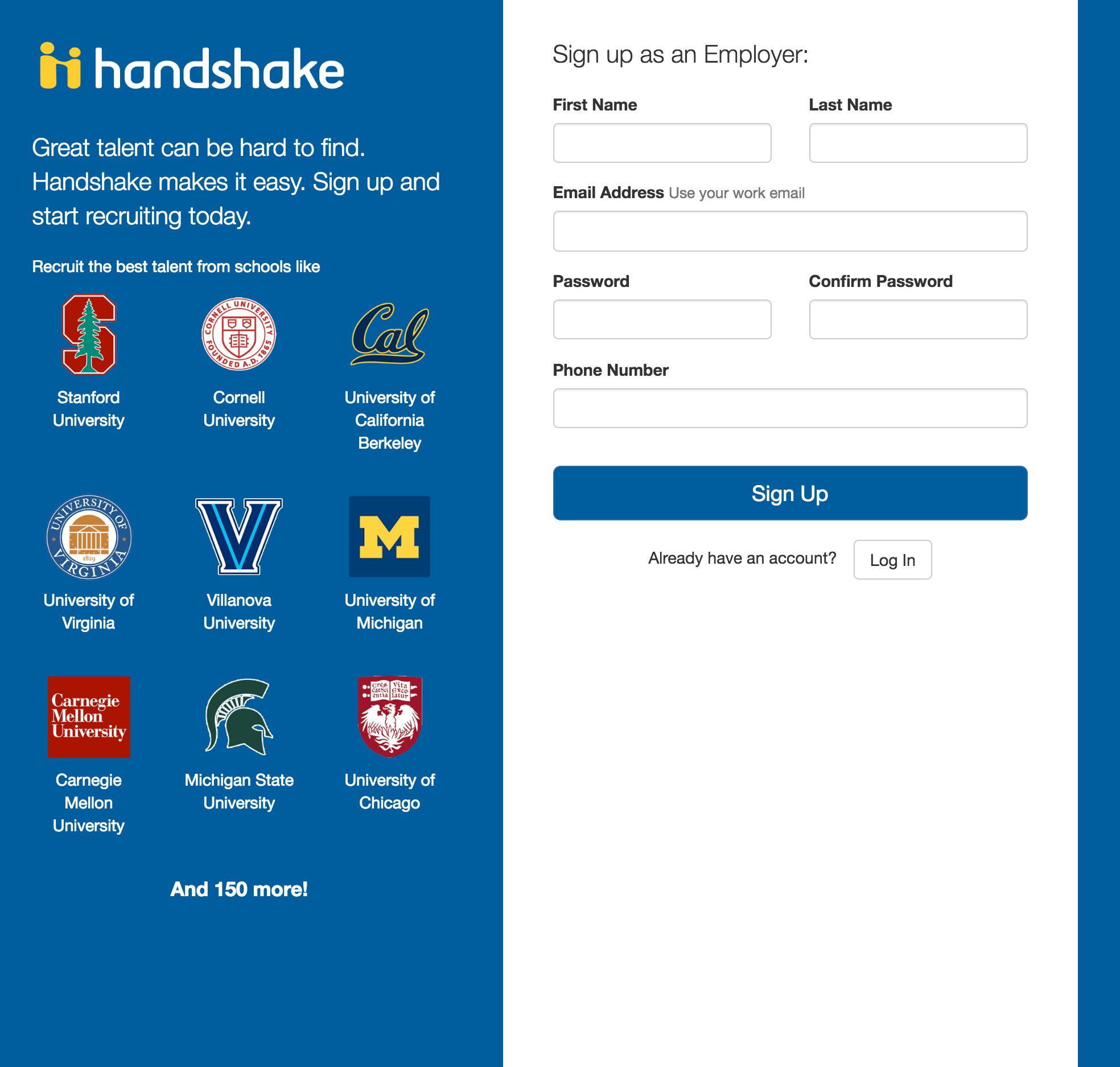 Handshake Sign up page screenshot