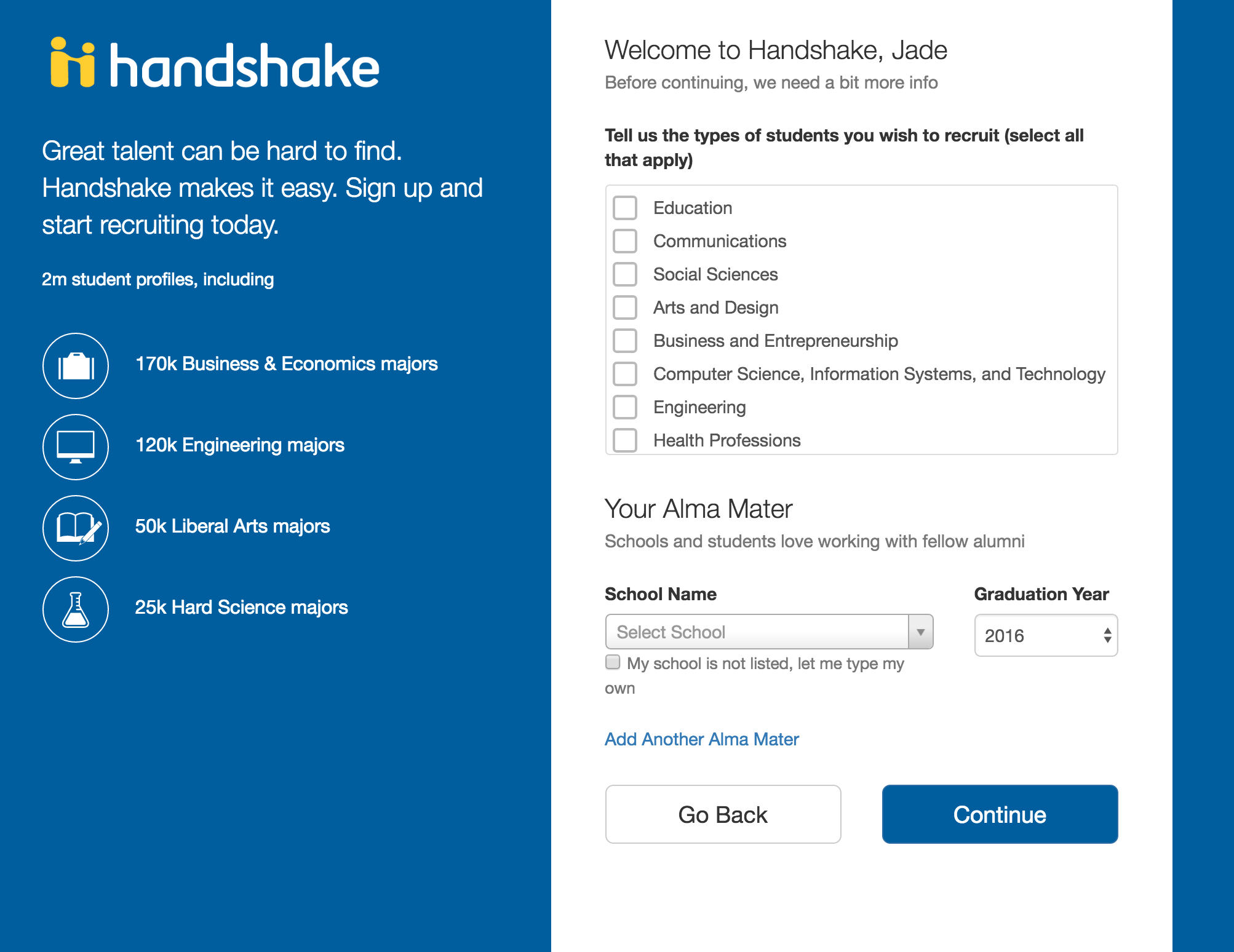 connect career development center university handshake preference page screenshot