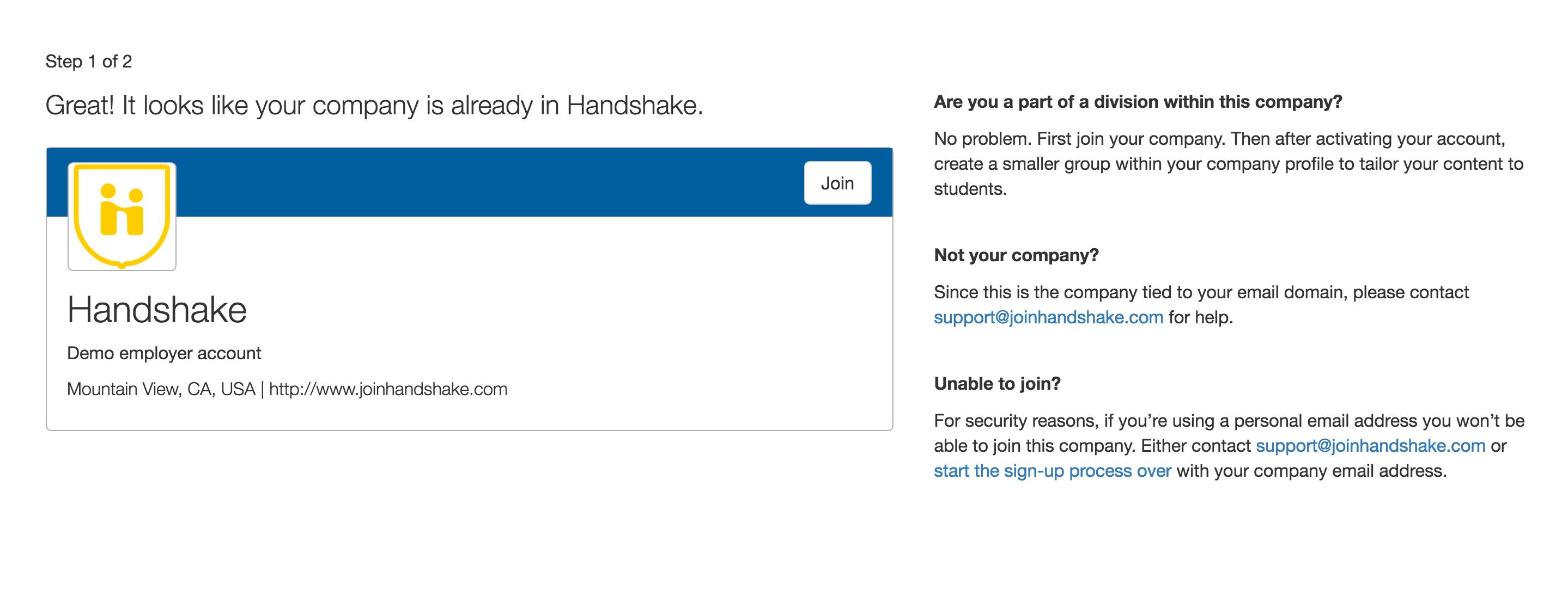 Handshake confirmation screenshot