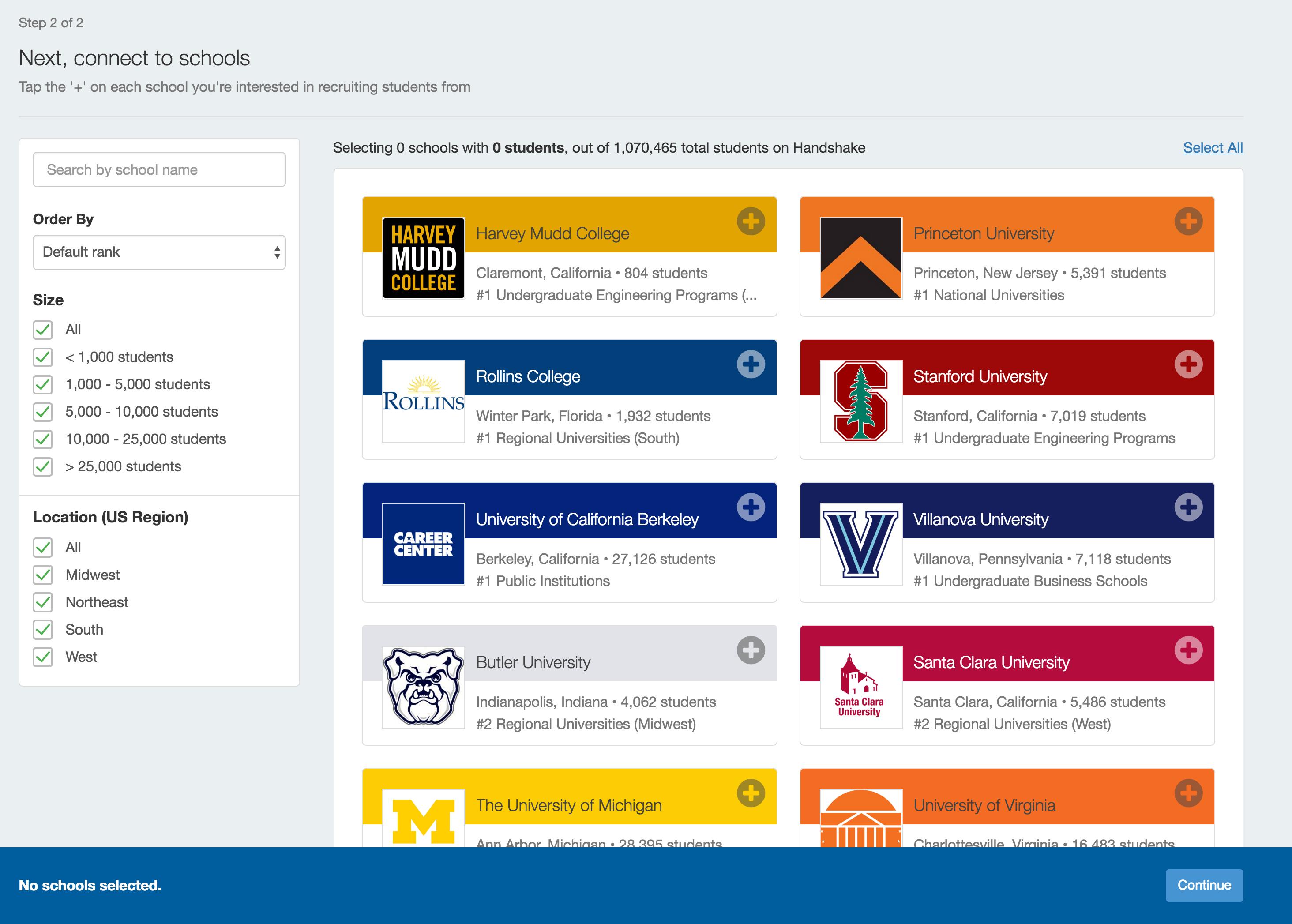 Handshake University account screenshot